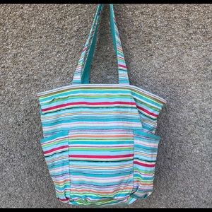 Thirty One Retro Metro Tote Bag Sunny Stripe